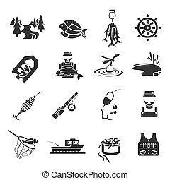 Set of Fishing Icons - Set of fish fisher hobby leisure...