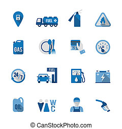 Set of Fuel Station Icon - Set of fuel station car auto...