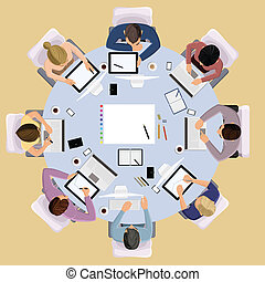 business peoples - Top view concept of business meeting...