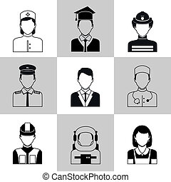 Professions avatar icons black set - Avatar social network...