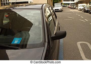Parking clock on car dashboard, Switzerland