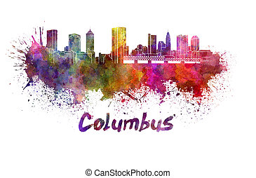 Columbus skyline in watercolor splatters with clipping path