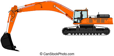 Excavator - Illustration of orange excavator on tracks...