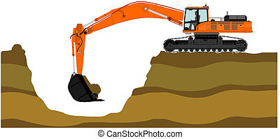 Excavator - Illustration of heavy excavator Vector