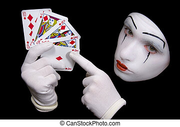 mime with playing cards