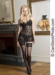 sexy girl black babydoll underwear - cute sensual blond...