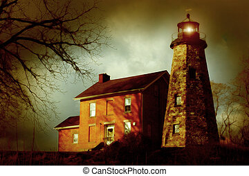 Vintage-Style Image of an Old Lighthouse - A snowless...
