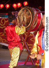 Drum dancing in Chinese New Year