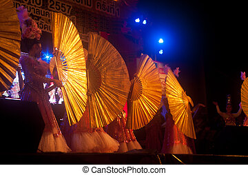 Fan dancing in Chinese New Year