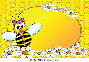 pszczoły, Family:, niemowlę, dziewczyna, -, dzieciaki,...