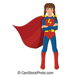 Girl in superhero costume full length portrait isolated on...