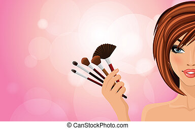 Make up background - Pretty woman with red hairs holding...