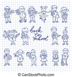 Set of carton doodle kids - Set of carton doodle cute study...