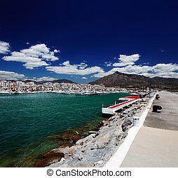Puerto Banus in Marbella, Spain - Luxury yachts and motor...
