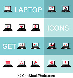 Set of icons for computer electronics business
