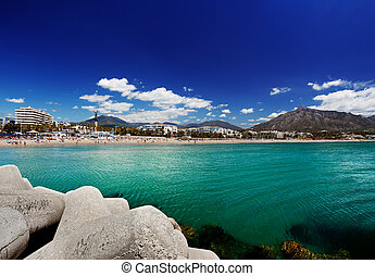 Puerto Banus in Marbella, Spain - Luxury yachts and motor...