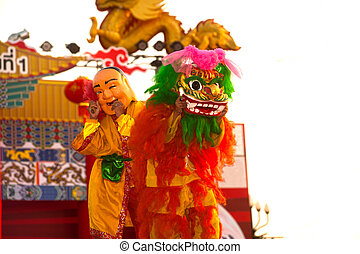 Lion dancing in Chinese New Year