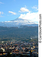 Etna - On the slopes of Etna covered by snow - Vulcano,...