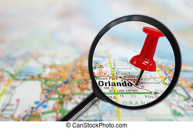 orlando magnified - Closeup of Orlando Florida map and red...