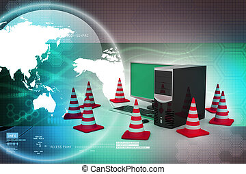 Computer with traffic sign