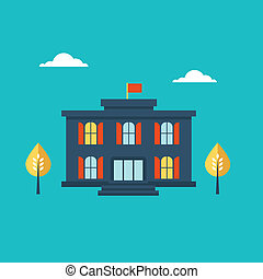 School building icon flat style illustration cute