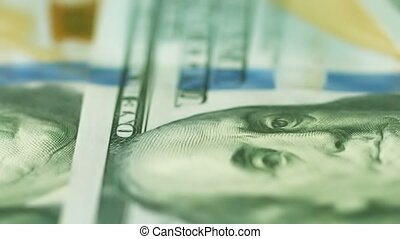 U.S. money close up. Bank Notes of 100 dollars - Video...