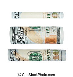 one hundred dollar bill isolated - set one hundred dollar...