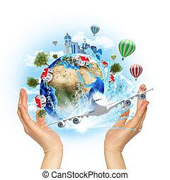 Terra, costruzioni, presa, albero, mani