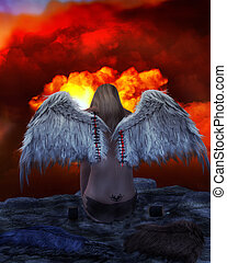 Angel On A Ledge - Angel sitting on a ledge overlooking red...
