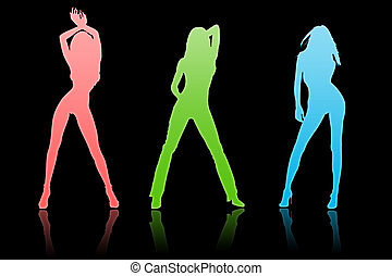 Team of beautiful woman on a black background