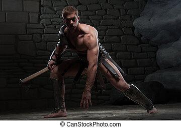 gladiador, machado, ajoelhando