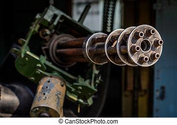 Minigun on a helicopter in Vietnam - Mini gun on a...