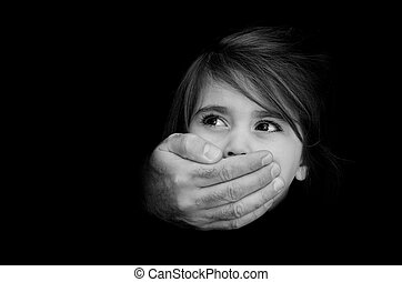 Child abuse - Concept Photo - Strong male hands cover little...