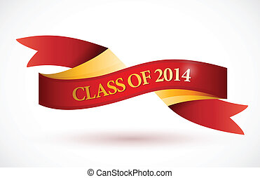 red class of 2014 ribbon banner illustration design over a...