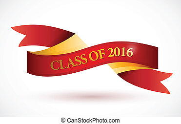 red class of 2016 ribbon banner illustration design over a...