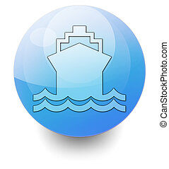Icon, Button, Pictogram Ship, Water Transportation - Icon,...