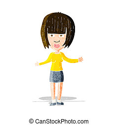 cartoon woman shrugging shoulders