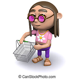 3d Hippy goes shopping - 3d render of a hippy with a...