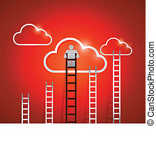 clouds and ladders. red. illustration design