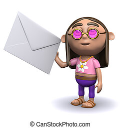 3d Hippy has mail - 3d render of a hippy holding an envelope