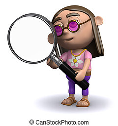 3d Hippy looks through a magnifying glass - 3d render of a...