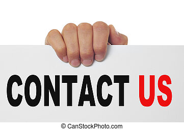 contact us - man hand holding a signboard with the text...
