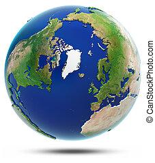 Earth north 3d map - Arctic