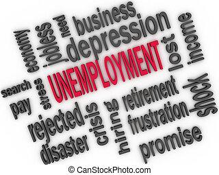 Desemprego, conceito, desempregado, palavra, nuvem, 3D