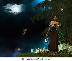 Lost Fairy - Woman with a latern finds a baby fairy