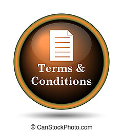 Terms and conditions icon Internet button on white...