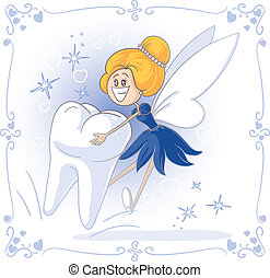 Tooth Fairy Vector Cartoon - Vector cartoon of Tooth Fairy...