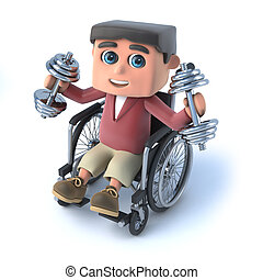3d Boy in wheelchair works out with weights - 3d render of a...