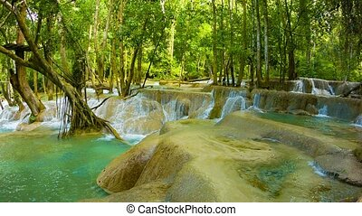 Kouang Si Waterfall, Laos, Luang Prabang. General view -...