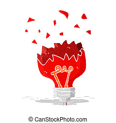 cartoon red light bulb exploding